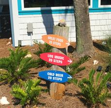 The Surf Restaurant Bar and Beach Motel Wayfinding Signs