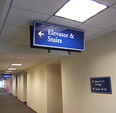 Elevator And Stairs Directional Sign