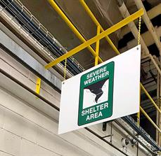 Severe Weather Shelter Area Wayfinding And Safety Sign