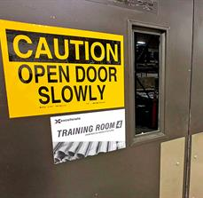 Caution Door Safety Sign