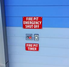 Fire Pit Emergency Shut Off and Timer Sign