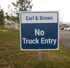 Earl & Brown No Truck Entry Sign