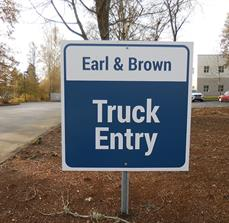 Earl & Brown Truck Entry Sign