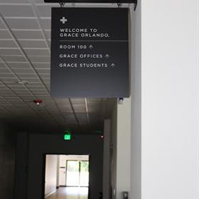 hanging directional signs