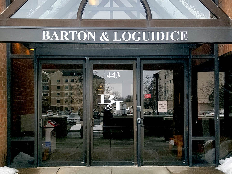 Barton & Loguidice double-faced new location site sign