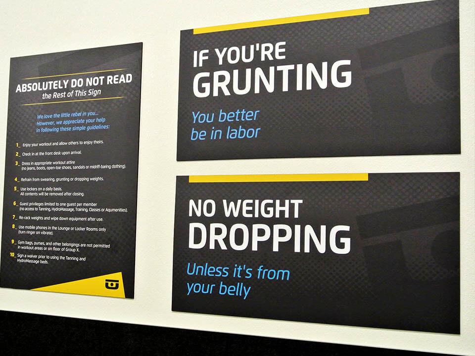 Chuze Fitness interior and exterior signage