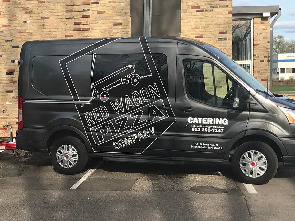 red wagon pizza vehicle wrap