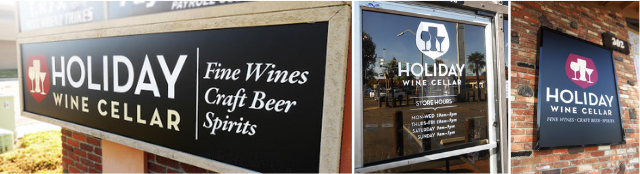 A collection of outdoor signs and imaged glass for Holiday Wine Cellar