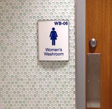 ADA braille restroom signage
