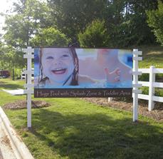 Outdoor pool signage