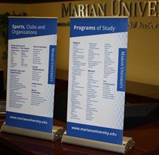 Small university banner stands
