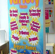 Theater banner stands