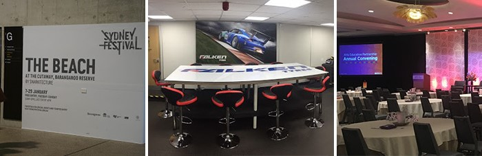 Establish event ambiance with podium graphics, stage graphics and table graphics.