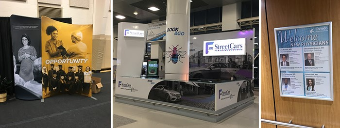 Trade show graphics and banner displays.
