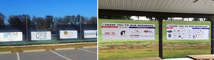 A collection of sponsorship signs that are installed at eye-level.