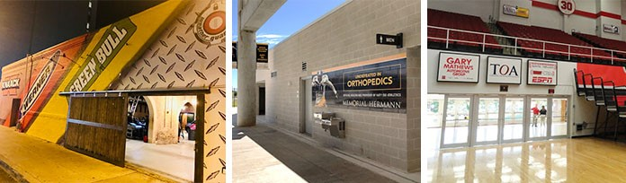 Multiple examples of walls installed with sponsor graphics, decals, and signs.