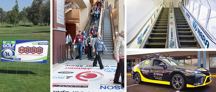 Sponsorship images and graphics placed in heavy-traffic areas at events.