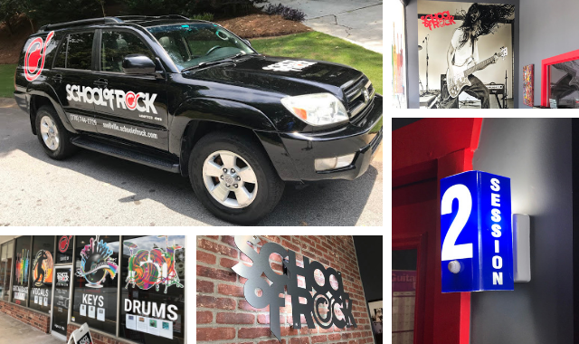 A collection of indoor and outdoor graphics for School of Rock