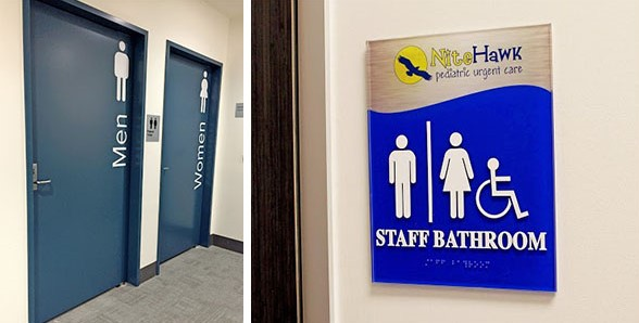 A collection of restroom signs and graphics that are ADA-compliant