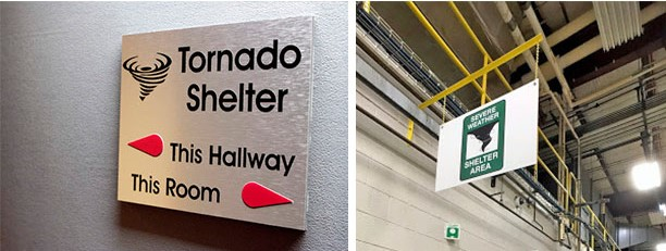 A collection of signs that denote tornado shelters
