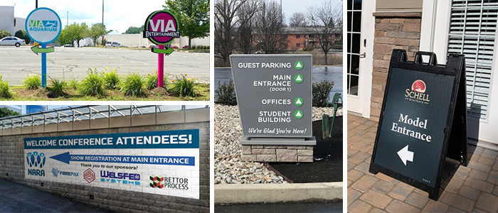 A-frames, wall graphics, and monument signs depicting event entrances