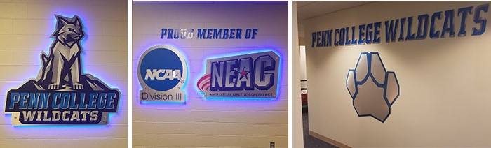 Athletic department illuminated locker room signage