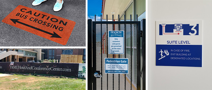Floor, wall, and outdoor signs notifying of emergency procedures or potential danger