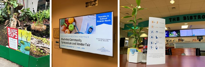 Informational signs and digital signs that tell the visitor more about the event