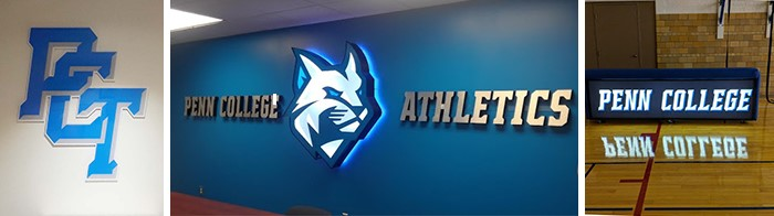 Penn College Athletics sign and graphics