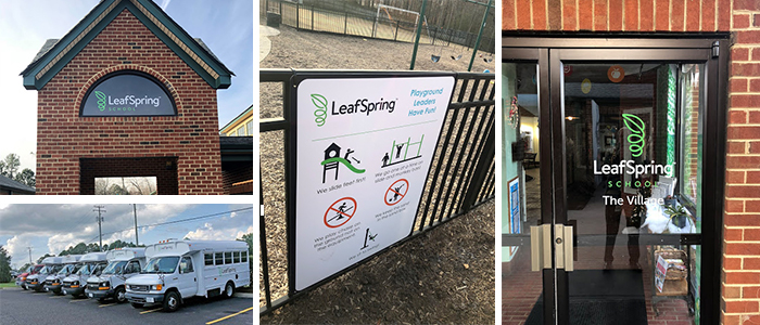 Preschool signage including fleet graphics, window graphics and more.