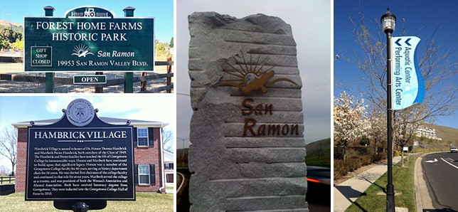 A collection of outdoor monument and banner signs that communicate messages for cities or local governments.