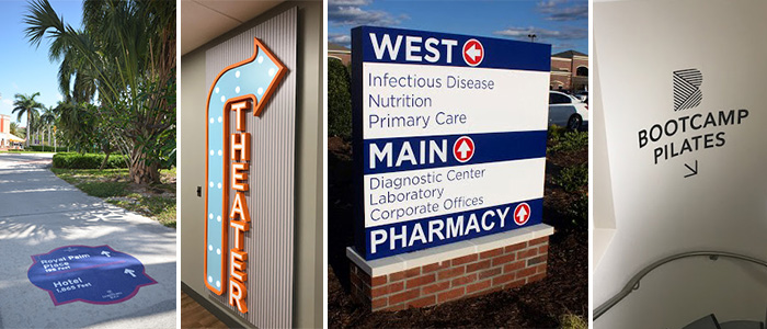 Indoor and outdoor wayfinding signs and graphics for businesses and hospitals.