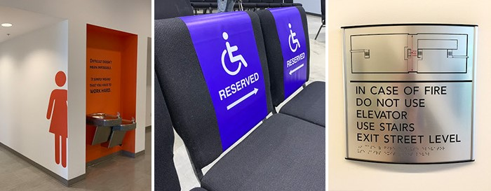Wall graphics, chair graphics, and wall-mounted ADA-compliant signs to provide accessibility information.