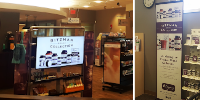 digital signage showcasing services in pharmacy