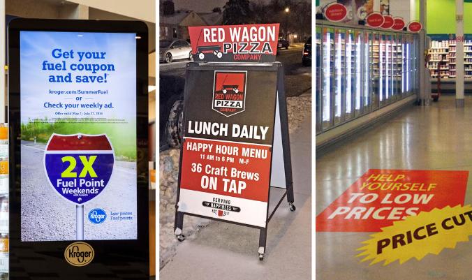 digital kiosk, A-frame signage and floor decals