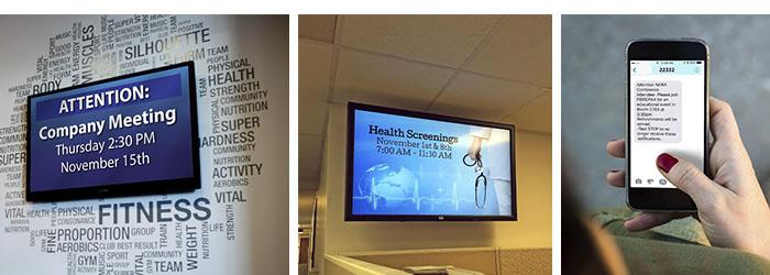digital signage displaying employee communication