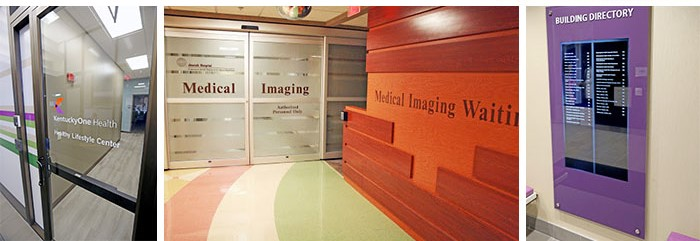 Door graphics, wall graphics, and frosted glass that provide wayfinding services