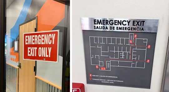 Emergency exit signs and maps that are compliant