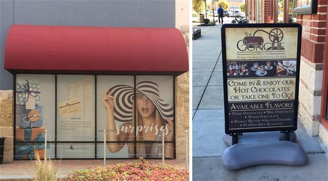 exterior window and sidewalk retail signage