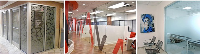 imaged glass in an open office environment