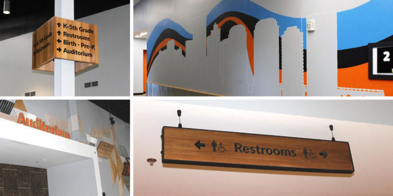 Journey Christian Church wayfinding signage & wall graphics