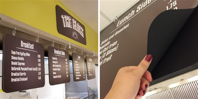 keeping menu boards up-to-date with magnetic graphics