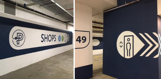 branded wayfinding graphics at Pierside Mall