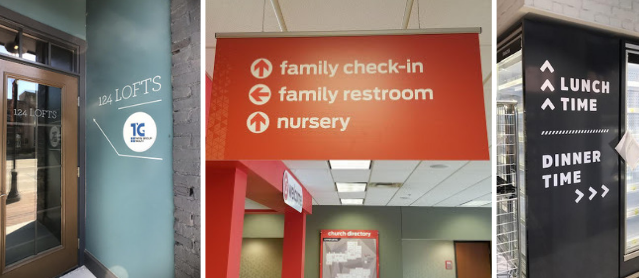 collection of directional signage in bold colors