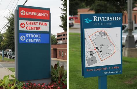 exterior wayfinding signs at medical center