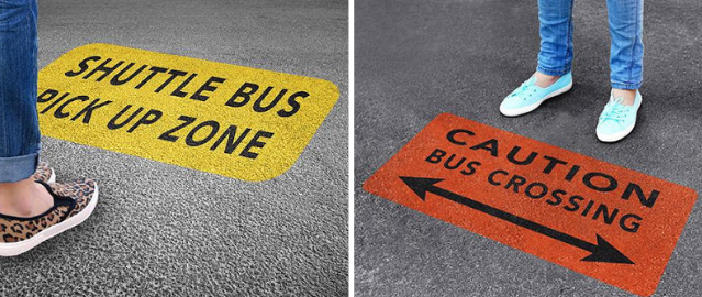 floor graphics indicating safe and unsafe standing locations