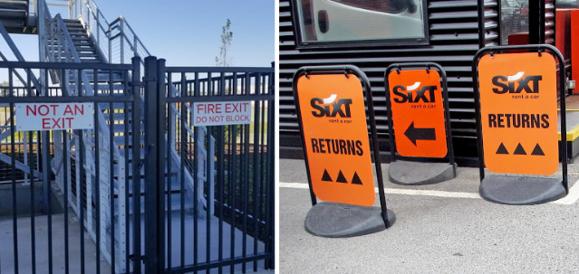 Not an Exit' fence signs and standalone directional signs