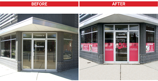new brand colors on window graphics - before and after