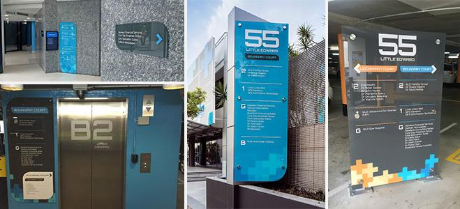 A collection of branded exterior and interior wayfinding signs