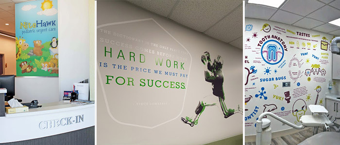 Branded wall graphics that are meant to motivate employees